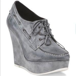 Joe's Jeans Leather Upbeat II Oxford Wedge Heels